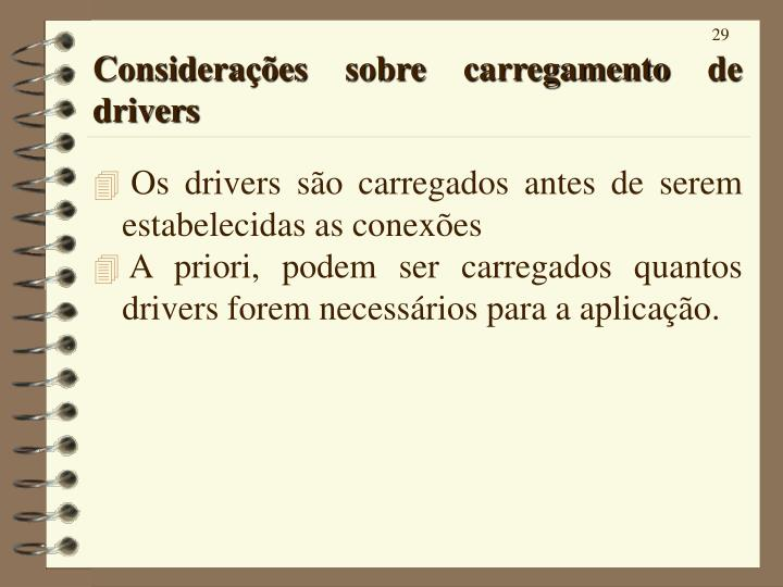Considerações sobre carregamento de drivers