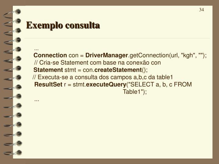 Exemplo consulta