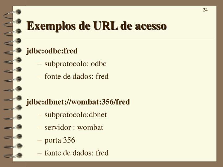 Exemplos de URL de acesso