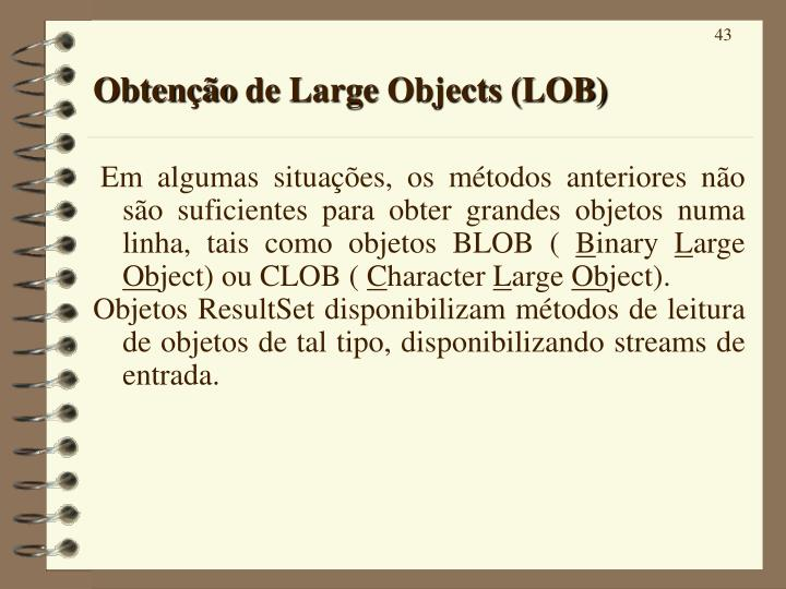 Obtenção de Large Objects (LOB)