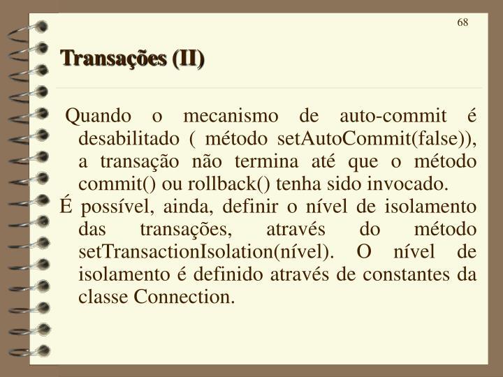 Transações (II)