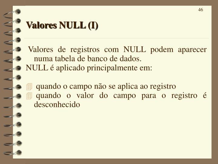 Valores NULL (I)