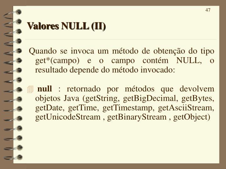 Valores NULL (II)