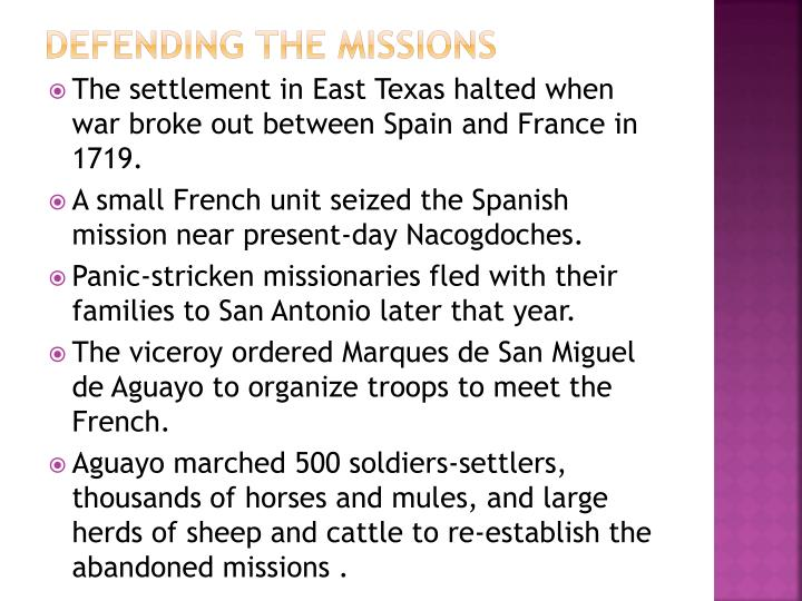 Defending the missions