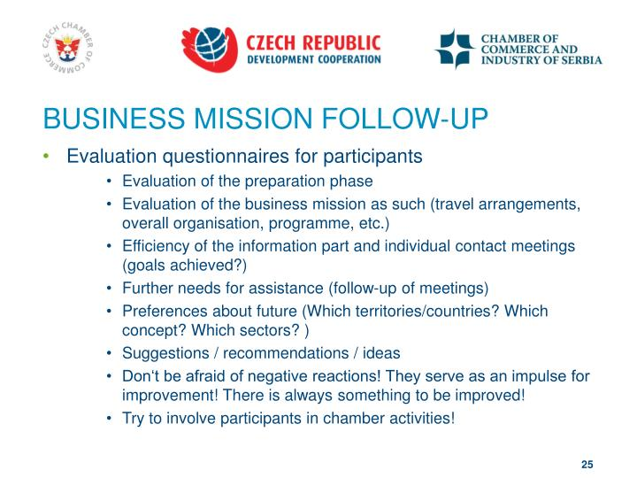 BUSINESS MISSION FOLLOW-UP
