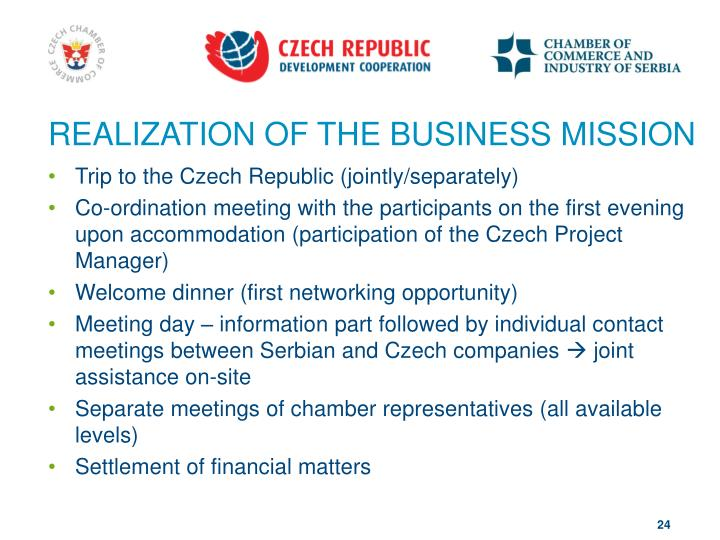 REALIZATION OF THE BUSINESS MISSION