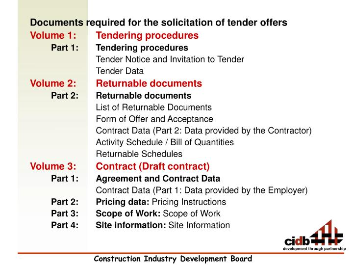 Documents required for the solicitation of tender offers