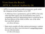 view from the bench appla federal authority