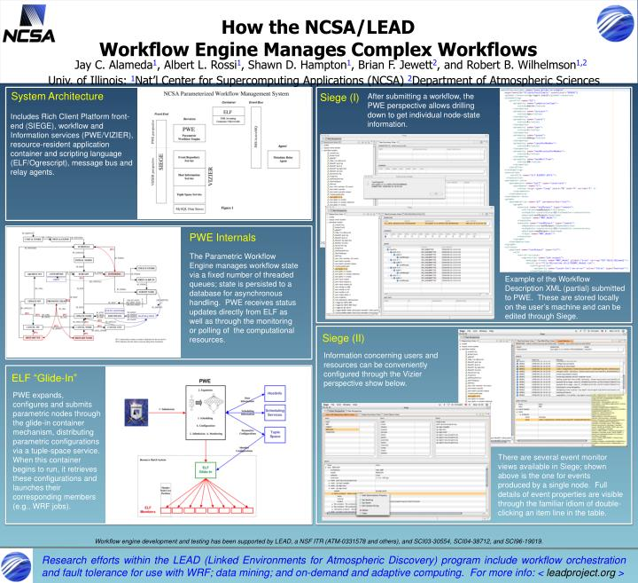 How the ncsa lead workflow engine manages complex workflows