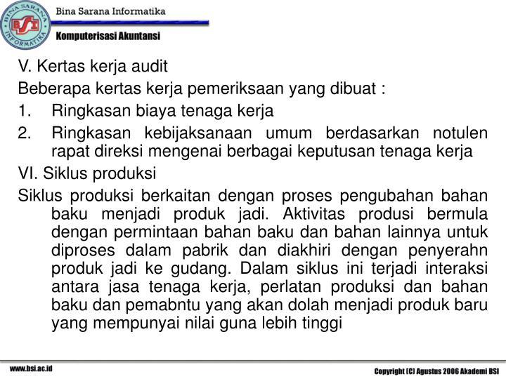 V. Kertas kerja audit