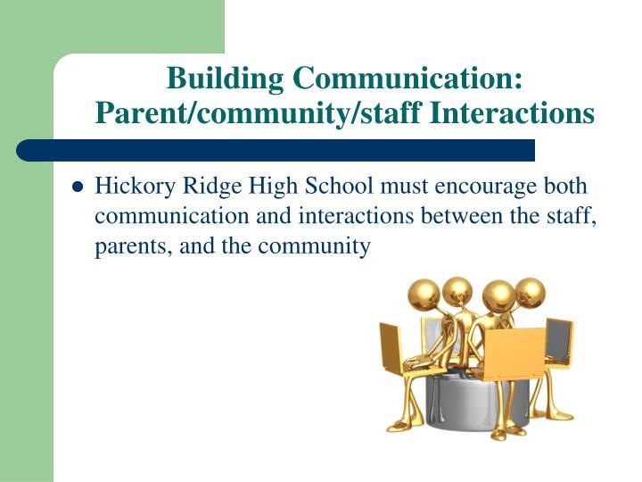 Building Communication: Parent/community/staff Interactions