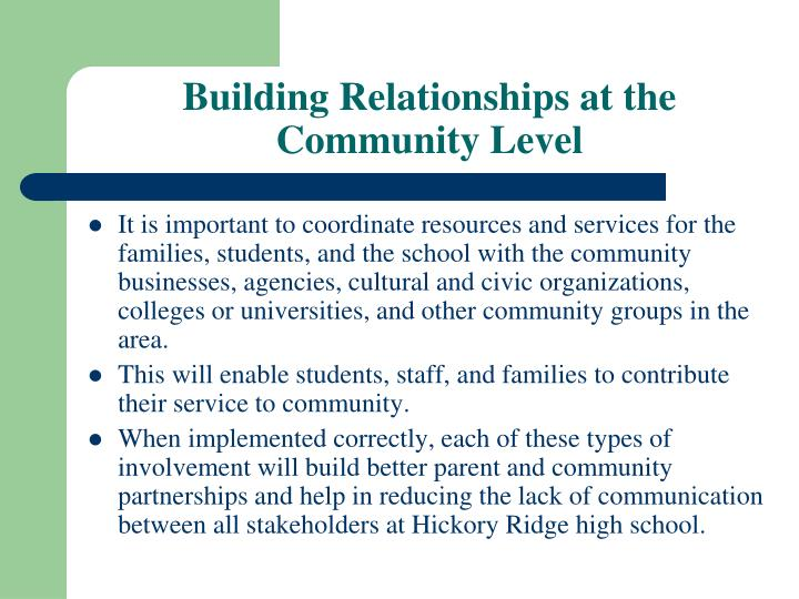 Building Relationships at the Community Level