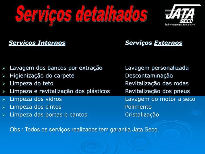 Serviços detalhados