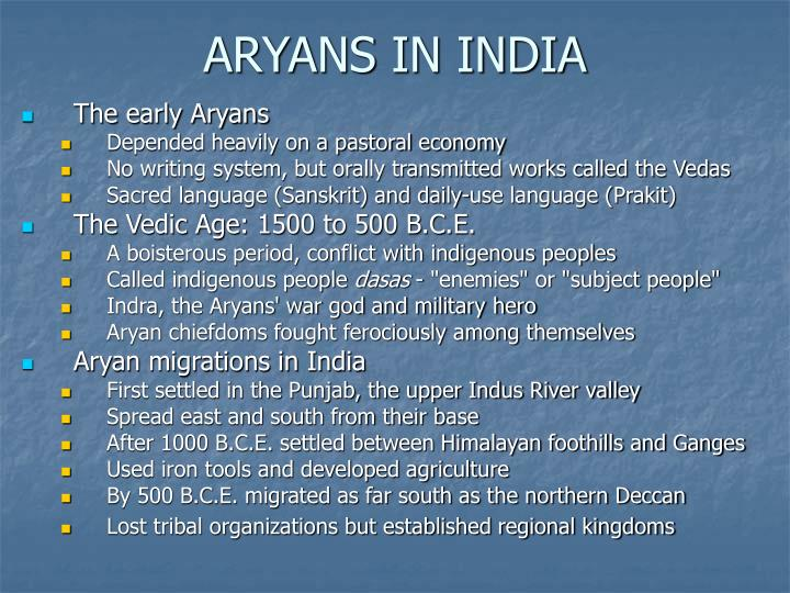 ARYANS IN INDIA