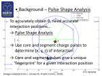 background pulse shape analysis