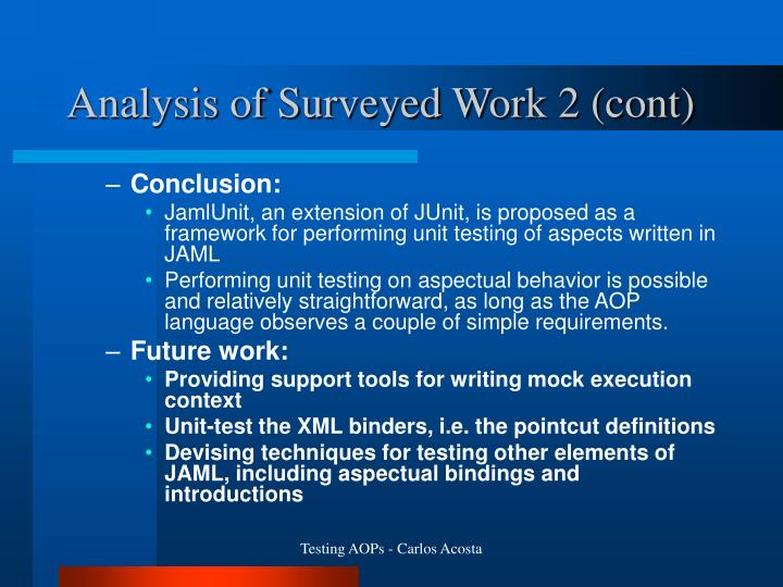 Analysis of Surveyed Work 2 (cont)