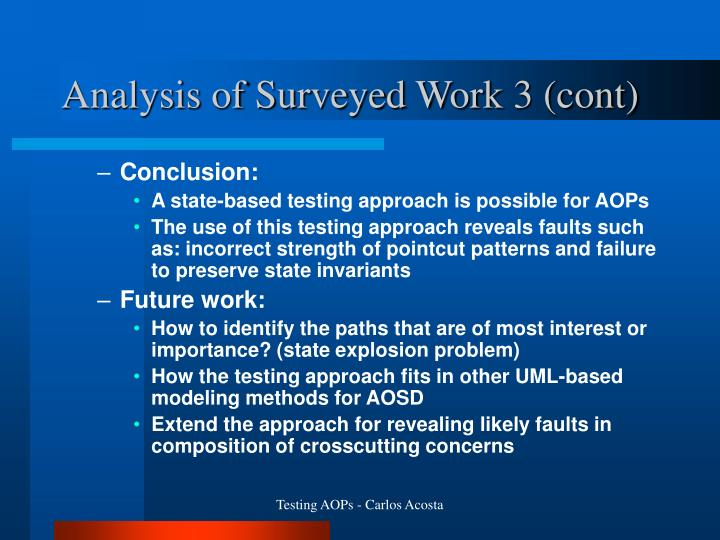Analysis of Surveyed Work 3 (cont)