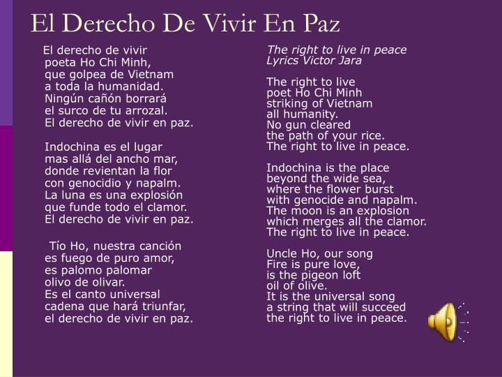 The right to live in peace Lyrics Victor Jara