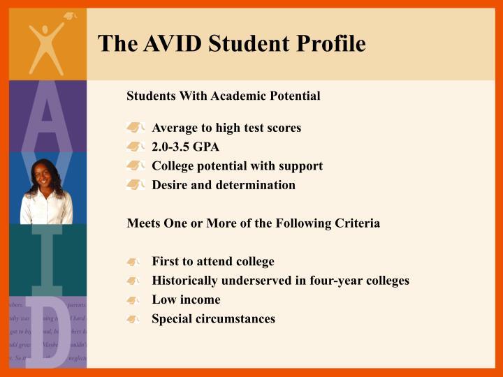 The AVID Student Profile
