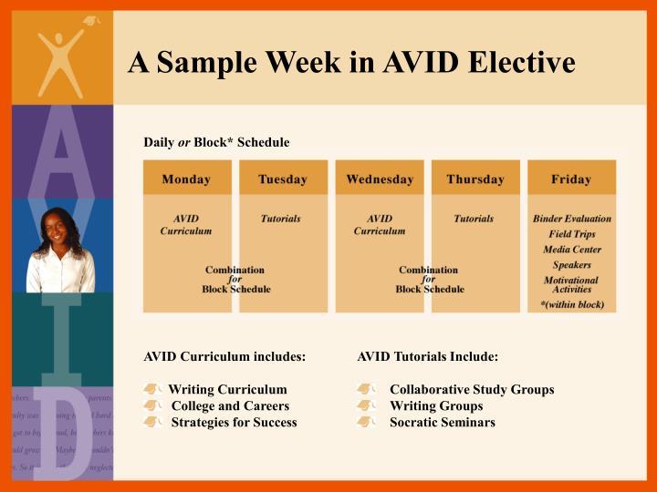 A Sample Week in AVID Elective