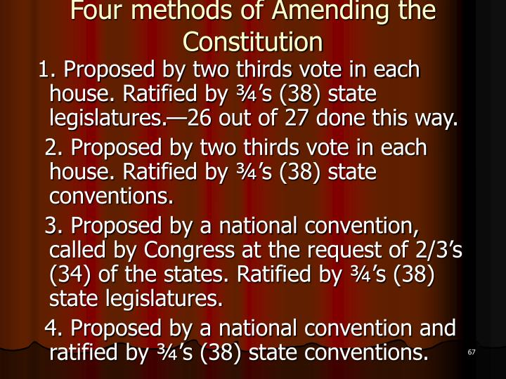 Four methods of Amending the Constitution