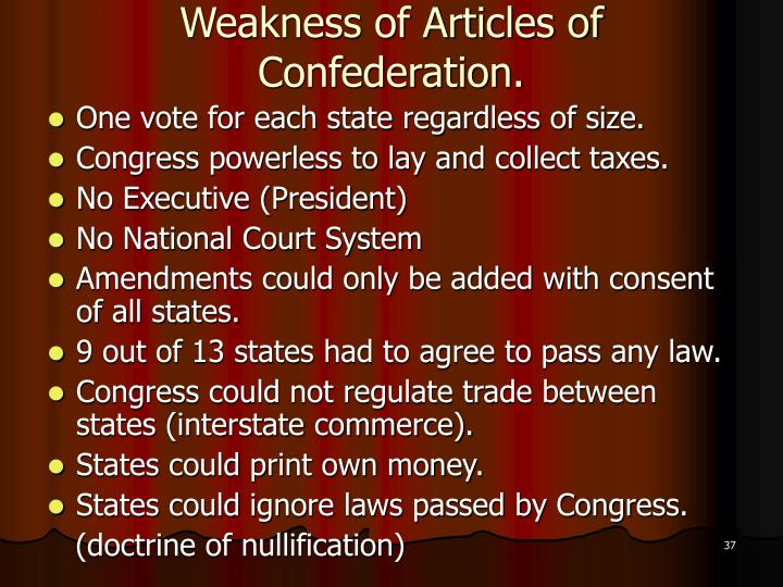 Weakness of Articles of Confederation.