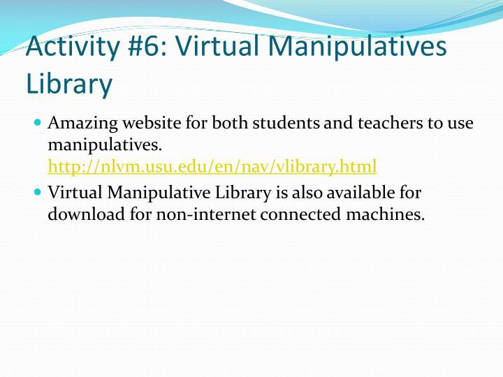 Activity #6: Virtual Manipulatives Library