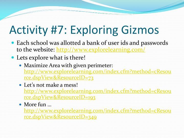 Activity #7: Exploring Gizmos