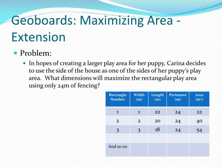 Geoboards: Maximizing Area - Extension