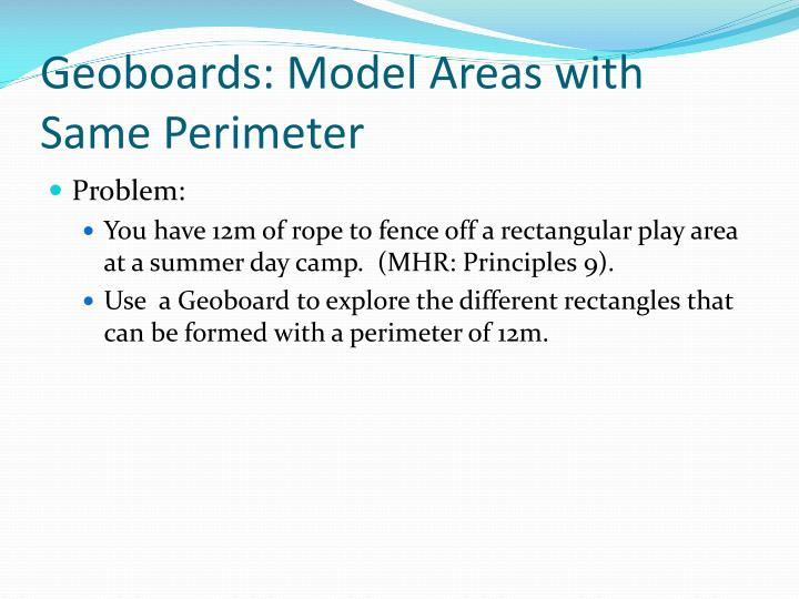 Geoboards: Model Areas with Same Perimeter