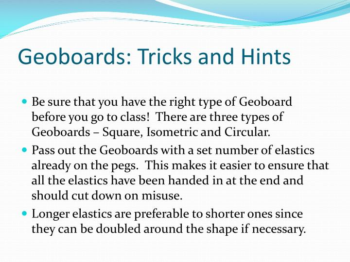 Geoboards: Tricks and Hints