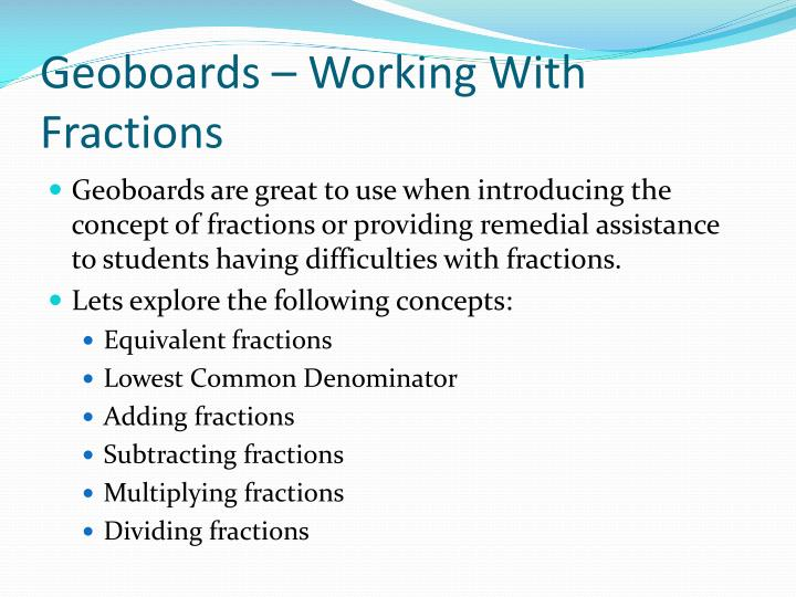 Geoboards – Working With Fractions