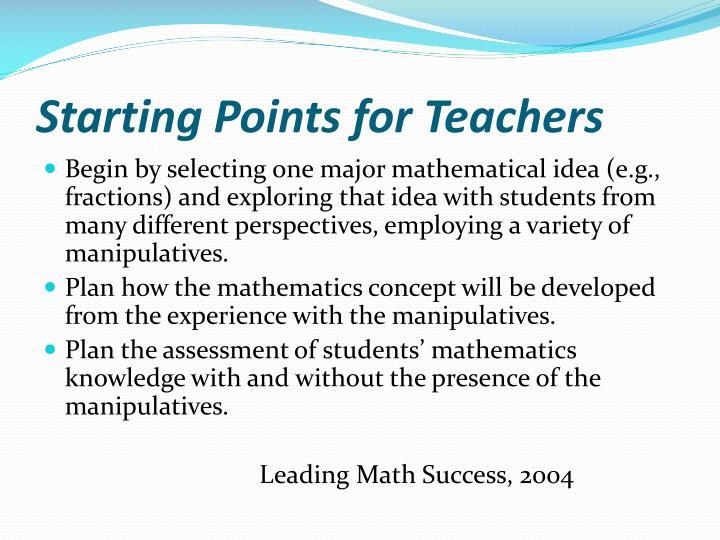Starting Points for Teachers