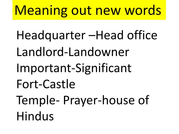 Meaning out new words