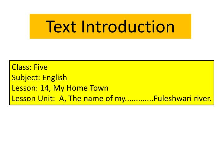 Text Introduction