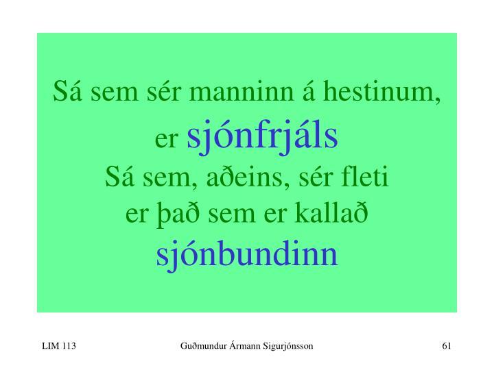 Sá sem sér manninn á hestinum,