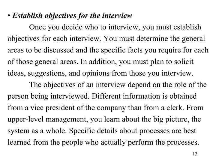 Establish objectives for the interview
