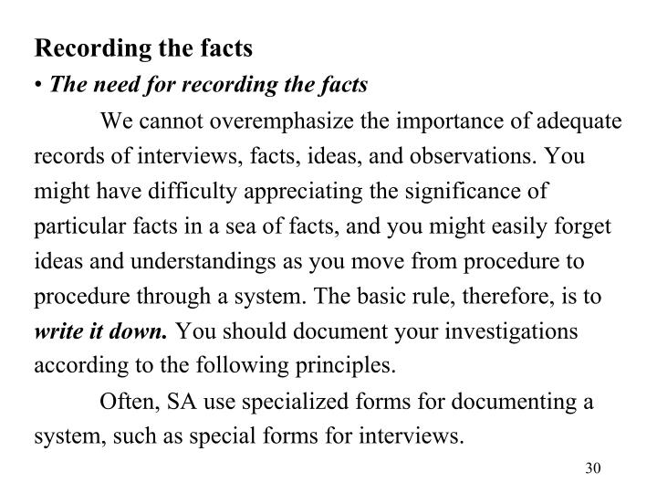 Recording the facts