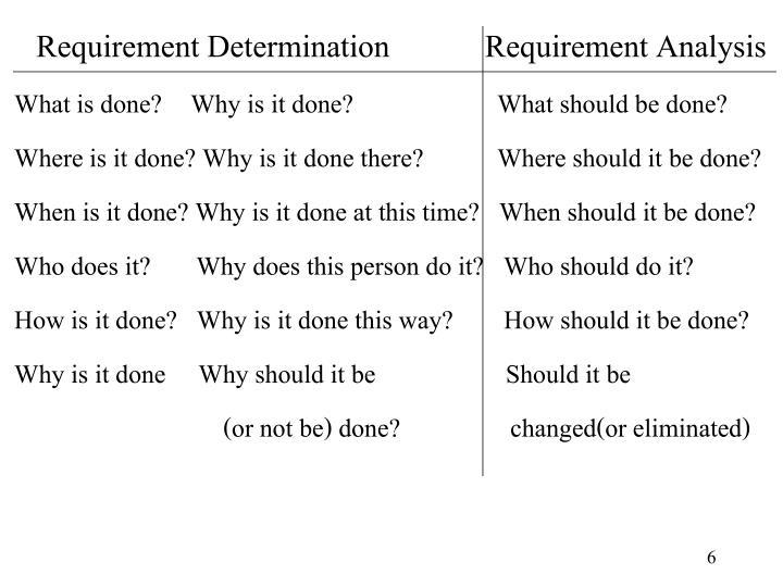 Requirement Determination          Requirement Analysis