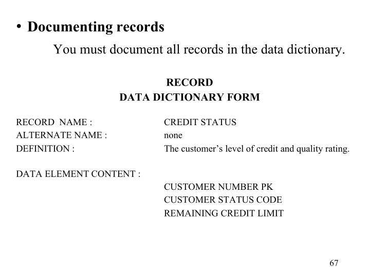 Documenting records
