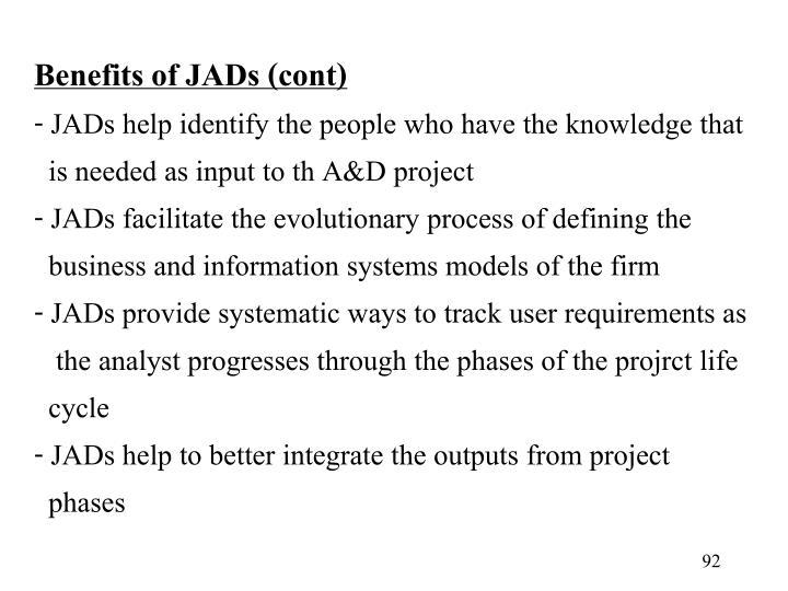 Benefits of JADs (cont)