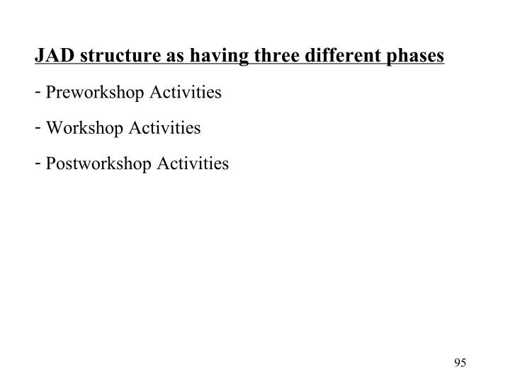 JAD structure as having three different phases