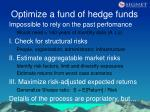 optimize a fund of hedge funds