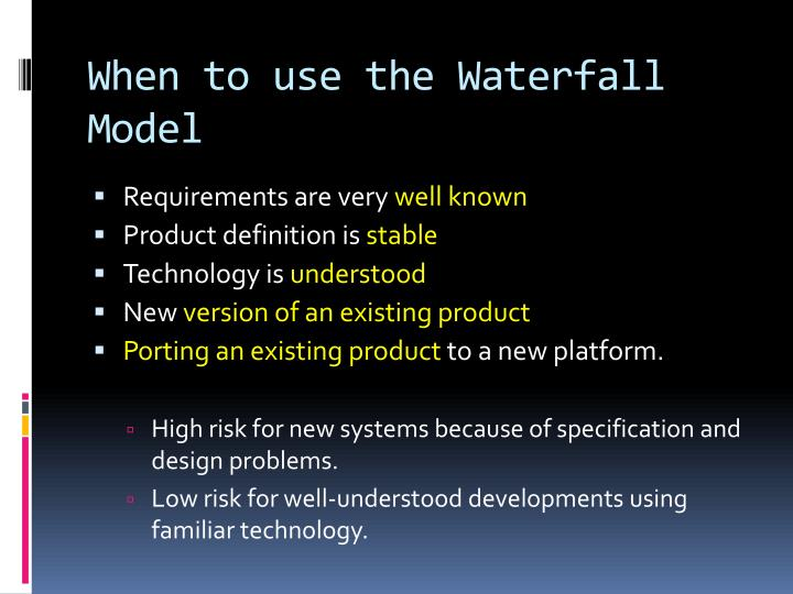 When to use the Waterfall Model