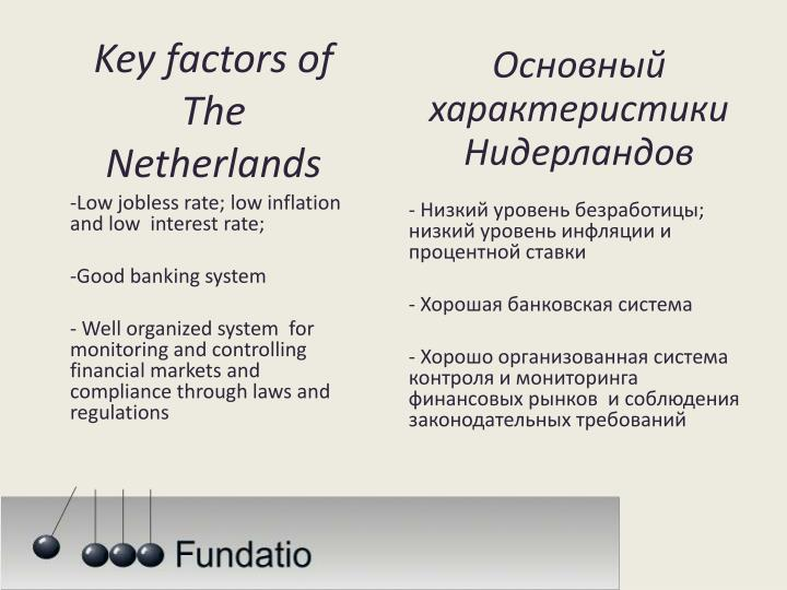 Key factors of the netherlands