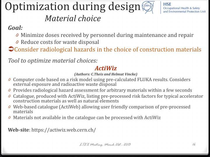 Optimization during design