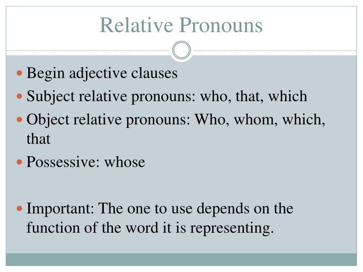 Relative Pronouns The Free Dictionary