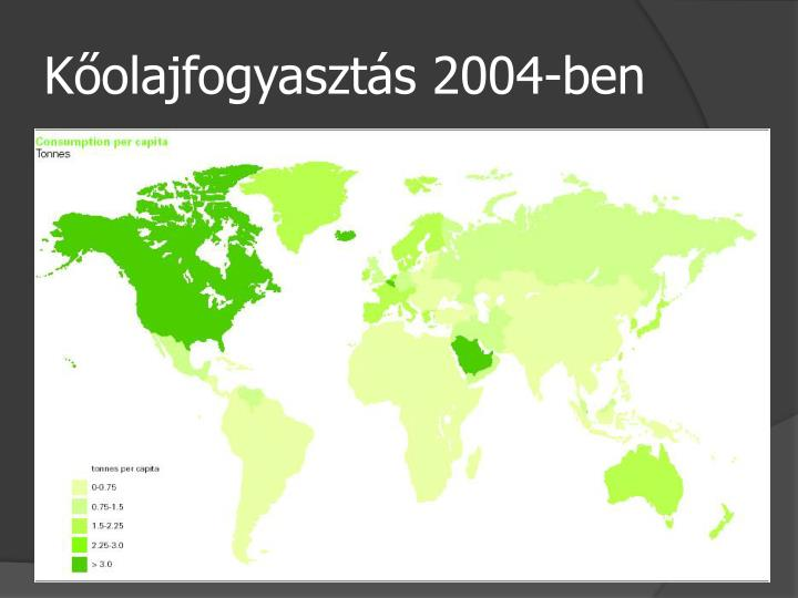 Kőolajfogyasztás 2004-ben