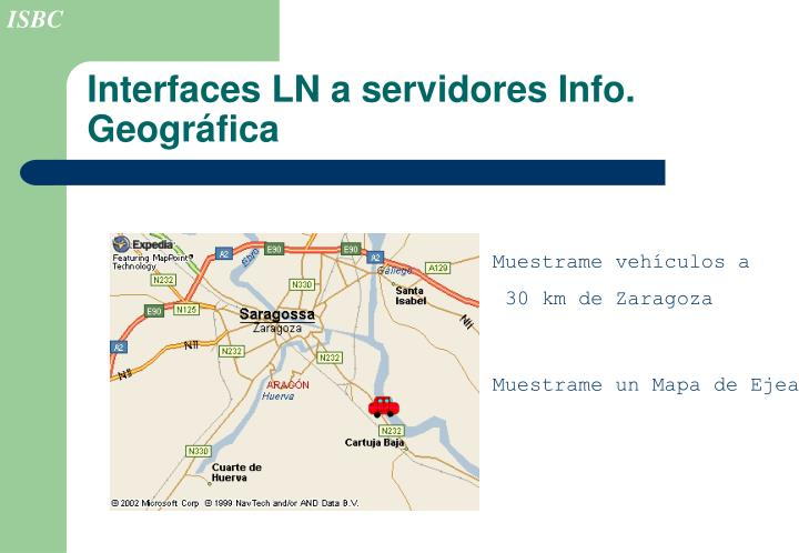 Interfaces LN a servidores Info. Geográfica