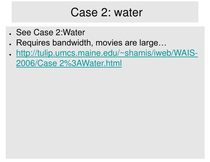 Case 2: water